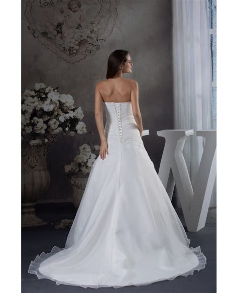Strapless Organza Lace Wedding Dress with 3/4 Sleeves