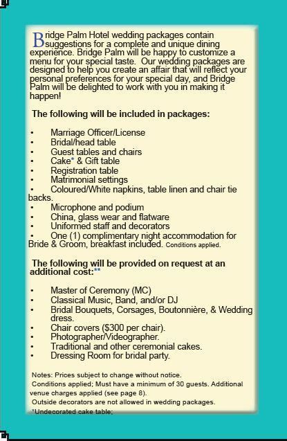 Bridge Palm Hotel   Wedding Packages Wedding Package