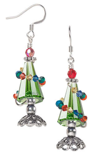 Jewelry Design - Earrings with SWAROVSI ELEMENTS and Wire Wrapand Beads