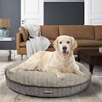 """Kirkland Signature 42"""" Round Dog Bed Cracked Taupe & Faux Suede"""