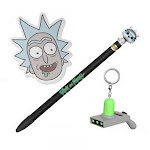 Funko Rick and Morty Bundle - Snowball Pen Topper, Rick Sticky Notepad, and Portal Gun Keychain