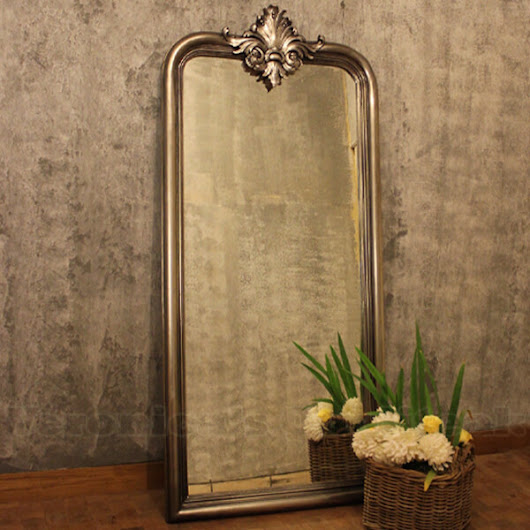 Antique Large Mirror With Silver Leaf Finish, Joline