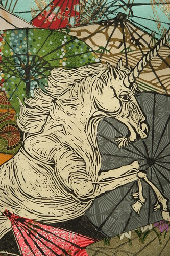 Unicorn Amongst Umbrellas I detail