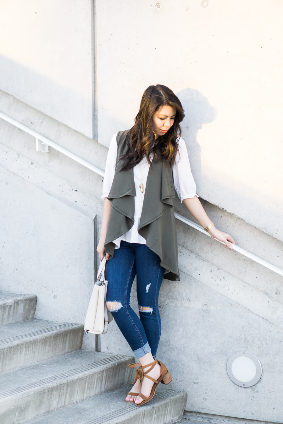 casual outfit with waterfall cardigan  just a tina bit