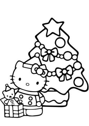 Hello Kitty Christmas Coloring Pages Coloring And Drawing