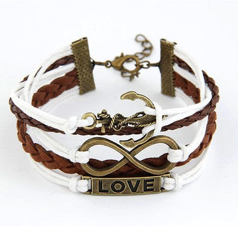 Price:$8.99 Material: Artificial Leather Color: As picture Antique Bronze Love Boat Anchor Pendant Mixed Colors Multi-layers Bracelet
