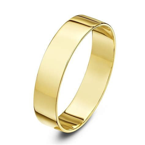 9kt Yellow Gold Light Flat 5mm Wedding Ring