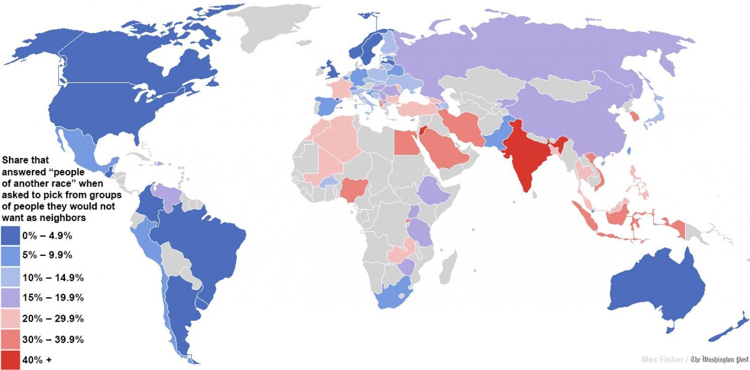 paesi piu razzisti, mappa dei Paesi del mondo