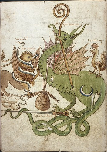 Houghton Library. MS Typ 157 Griffin, snake, dragon and rooster