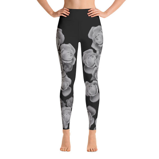 Black and White Rose Yoga Leggings