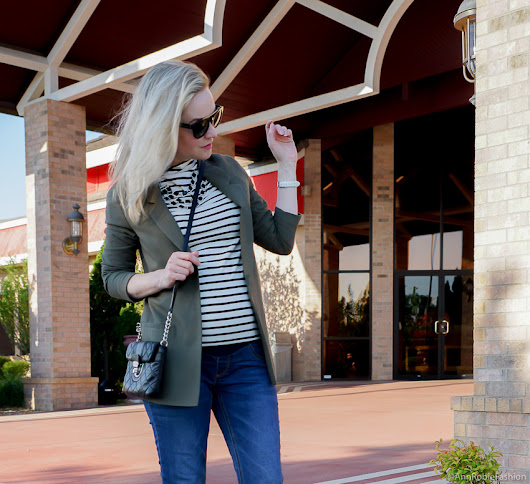 Striped mock neck top, skinny maternity jeans - outfit for petite