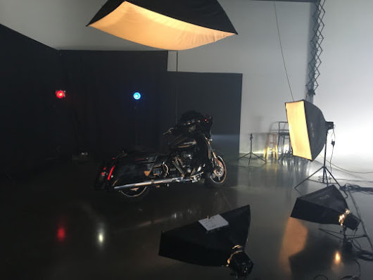 Behind the scenes of a motorcycle shoot