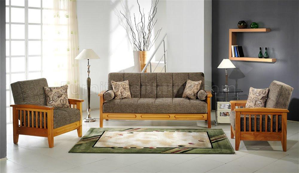 Fume Microfiber Living Room w/Wooden Frame Storage Sleeper ...