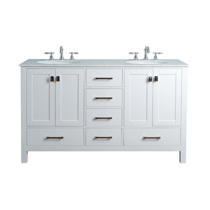 Stufurhome 60 In White Double Sink Bathroom Vanity With Carrara White Natural Marble Top In The Bathroom Vanities With Tops Department At Lowes Com