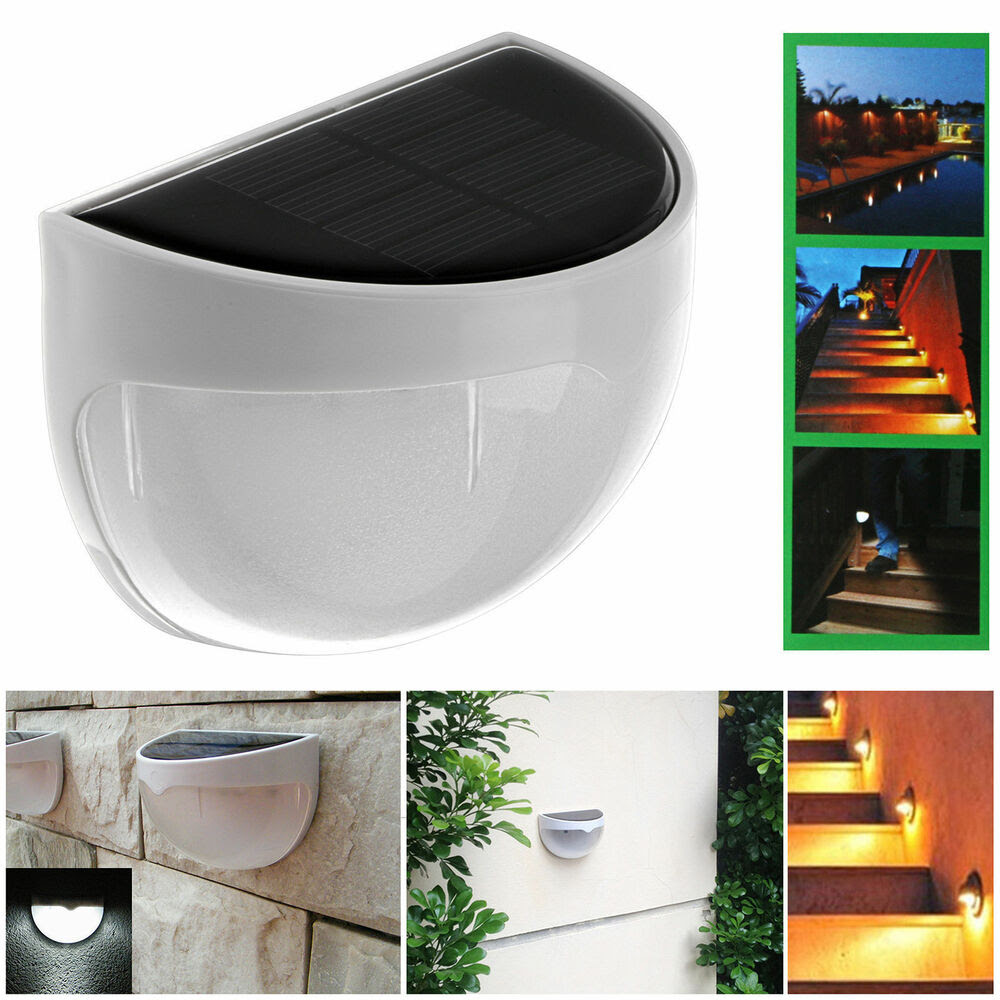 Outdoor Solar Power LED Wall Light 6 LED Stair Landscape Garden Fence Lamp Light  eBay