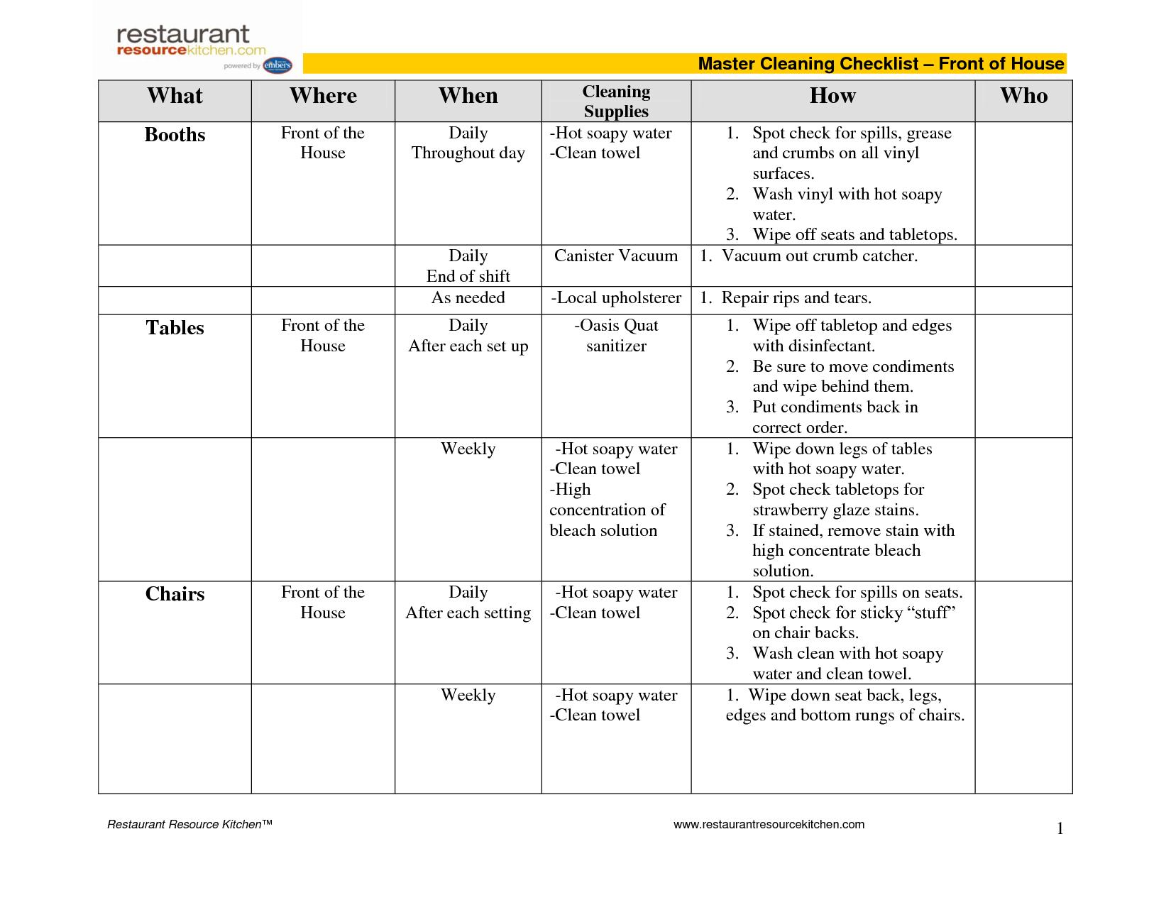 daily cleaning schedule for restaurant calendar june. Black Bedroom Furniture Sets. Home Design Ideas