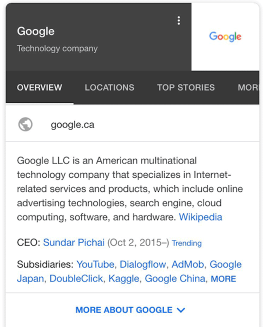 Google Testing Tabs On Branded Knowledge Panels