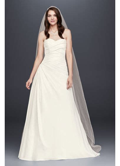 Strapless A Line Drop Waist Wedding Dress   David's Bridal