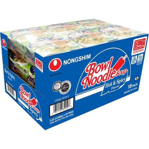 Nongshim Bowl Noodle Soup, Hot & Spicy, 3.03 oz, 18-Count