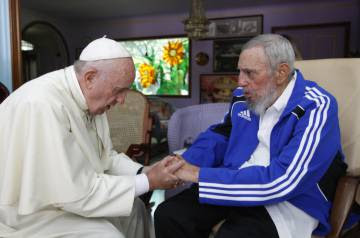 The pope with Fidel Castro during a visit to Havana in September 2015.