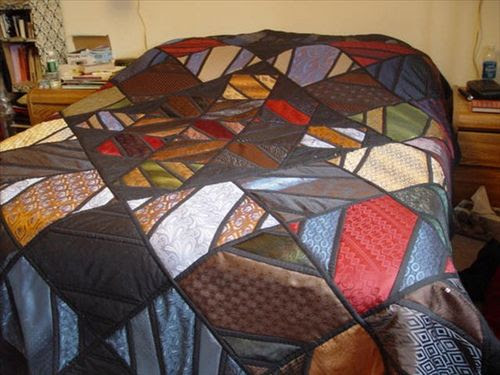 Love this - a quilt made only with repurposed neck ties. Only 28 ties for a queen-sized quilt!