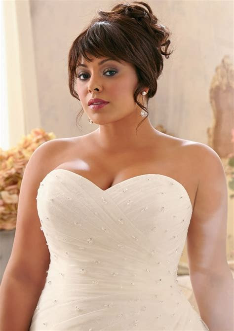Lace Plus Size Wedding Dress with Crystal Beads   Style