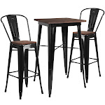 Flash Furniture CH-WD-TBCH-16-GG 23.5 in. Square Black Metal Bar Table Set with Wood Top & 2 Stools