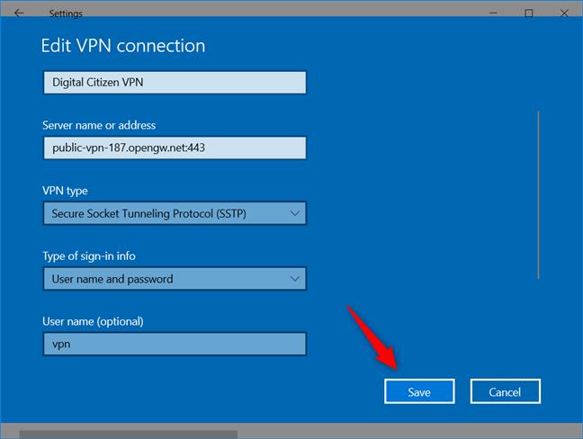 Agregar una conexión VPN: guardar la conexión VPN