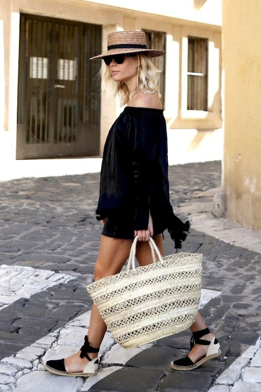 Le Fashion Blog Blogger Vacation Style Straw Hat Sunglasses Black Off The Shoulder Top Denim Skirt Woven Tote Dorsay Lace Up Espadrilles Via We The People