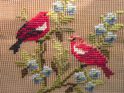 vintage needlepoint - red birds