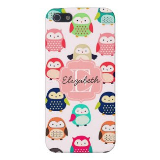 Cute Retro Litte Owls Monogrammed Covers For iPhone 5