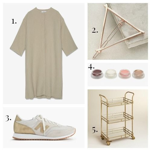 Helmut Lang Coat - Anthropologie Hair Clip - New Balance Sneakers - RMS Beauty Kit - Gold Cole Bar Cart