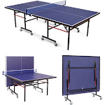 Removable Foldable Net Table Tennis Table with Locking Casters | Costway