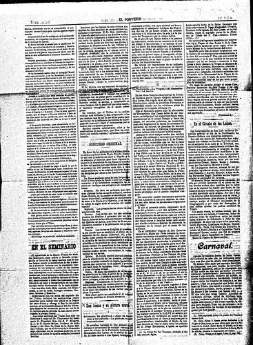 Periódico Carlista El Porvenir (Toledo) informando del descubrimiento de una pintura mural en la iglesia de San Lucas de Toledo. 1910