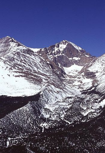 Snowpack accumulation at 14,255 ft. on Longs P...