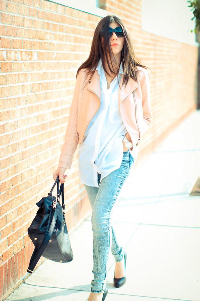 Pink Leather Jacket, Acid Wash Skinny Jeans, Urban Outfitters BDG, Nine West Heels, Paddington bag, Fashion, outfit