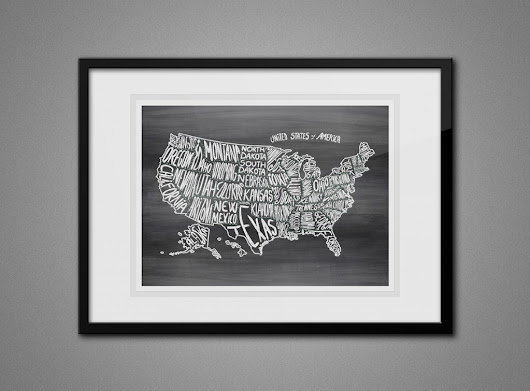 Free Printable Wall Art - Map of USA - The Graffical Muse