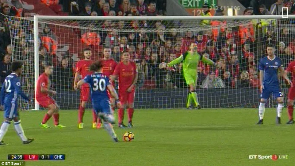 Liverpool goalkeeper Mignolet was still arranging his defence as Luiz prepared to strike the ball towards his goal