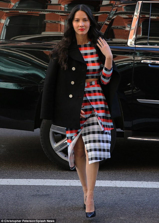 Plaid to see you! Olivia Munn looked stunning in a two-piece ensemble as she visited Sirius Radio in New York City on Wednesday