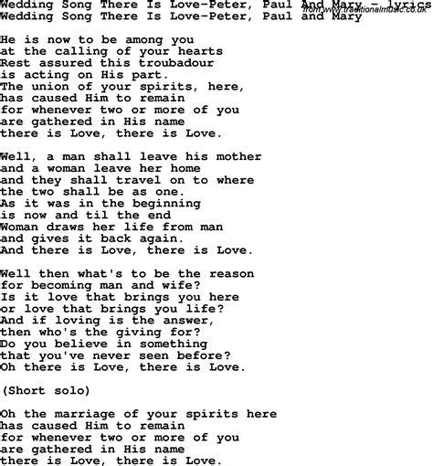 Love Song Lyrics for: Wedding Song There Is Love Peter