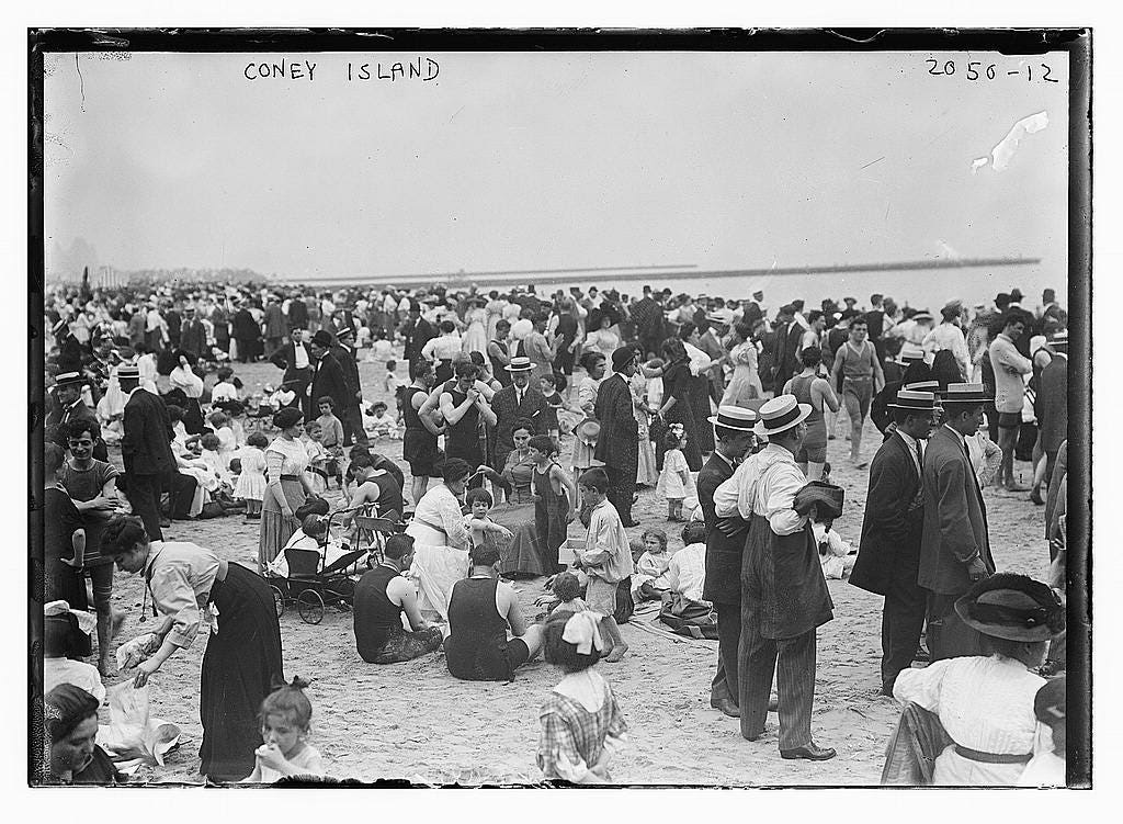 Today you'd see a lot more bathing suits in Coney Island.