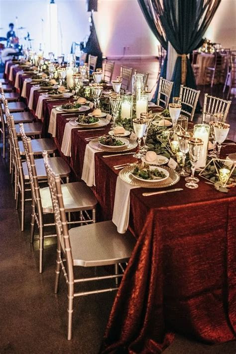 Romantic Fall Red Wedding In Omaha   Table Decor For