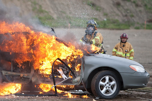 Car Fire - Riverside Fire Department by OfficerGreg