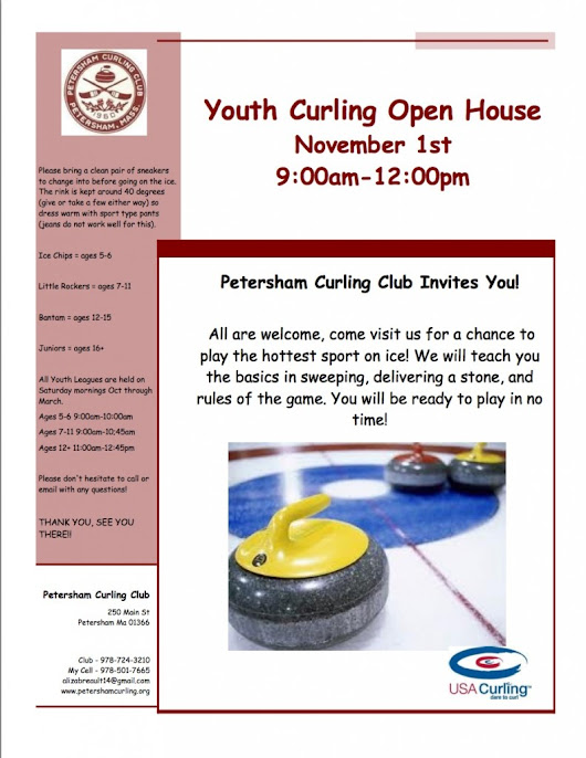 Youth Curling Open House Saturday, Nov 1, 2014, at Petersham Curling Club