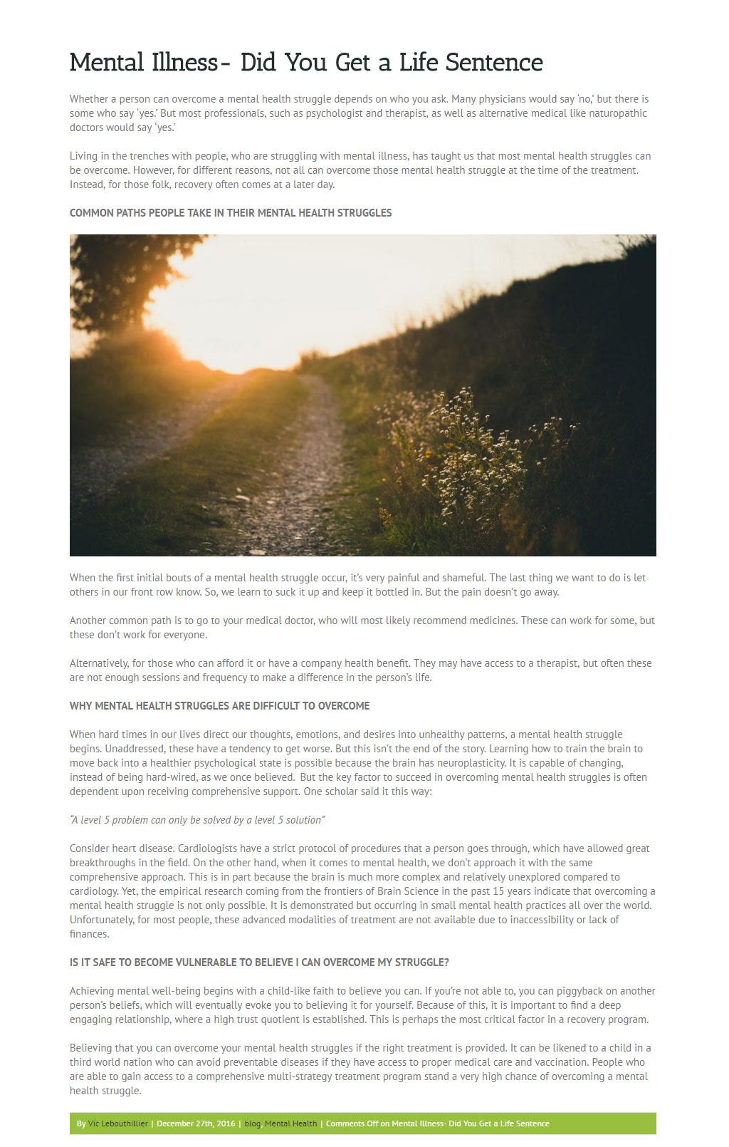 Mental Illness- Did You Get a Life Sentence - Build Strong ...