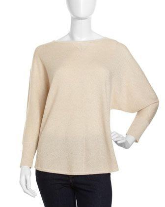 Neiman Marcus Cashmere Metallic Sweater