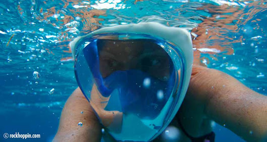 Easybreath snorkeling mask for your powerboat charter - Rockhoppin' Adventures