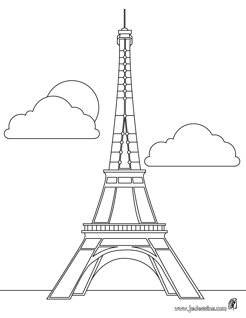Coloriages Coloriage De La Tour Eiffel à Paris Frhellokidscom