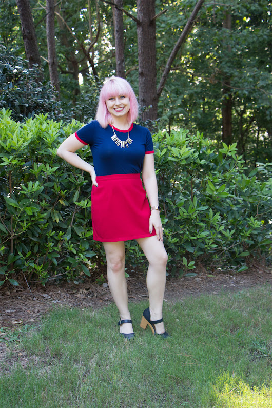 Outfit: Red Mini Skirt, Blue Ringer Tee and Navy Blue Clogs