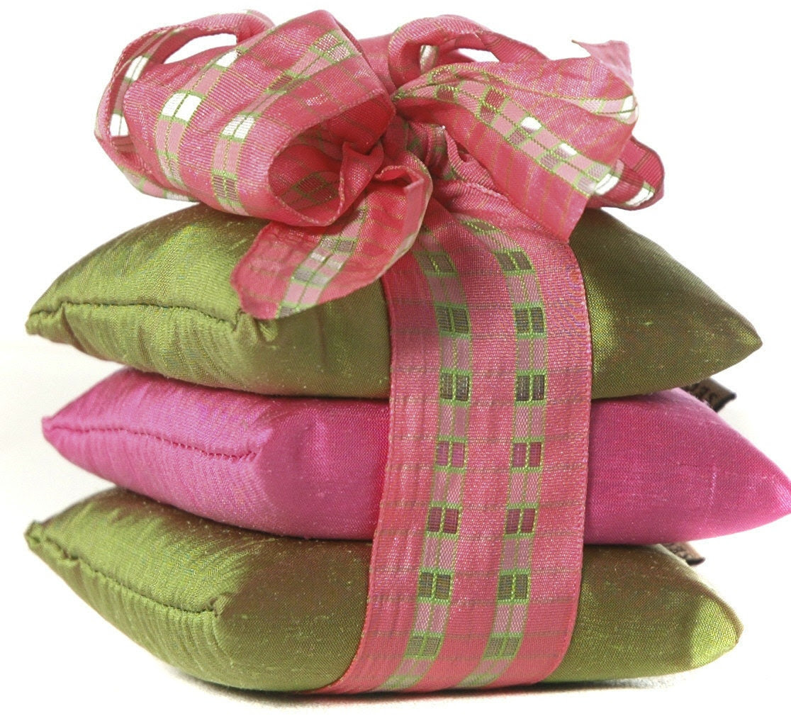 SILK Lavender Sachets, ORGANIC French Lavender - 4x4 square sachets, green & pink silk dupioni with hand cut windowpane ribbon - StressTamerSpa